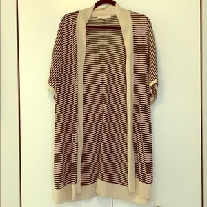 LOFT striped short sleeved cardigan sweater NWOT